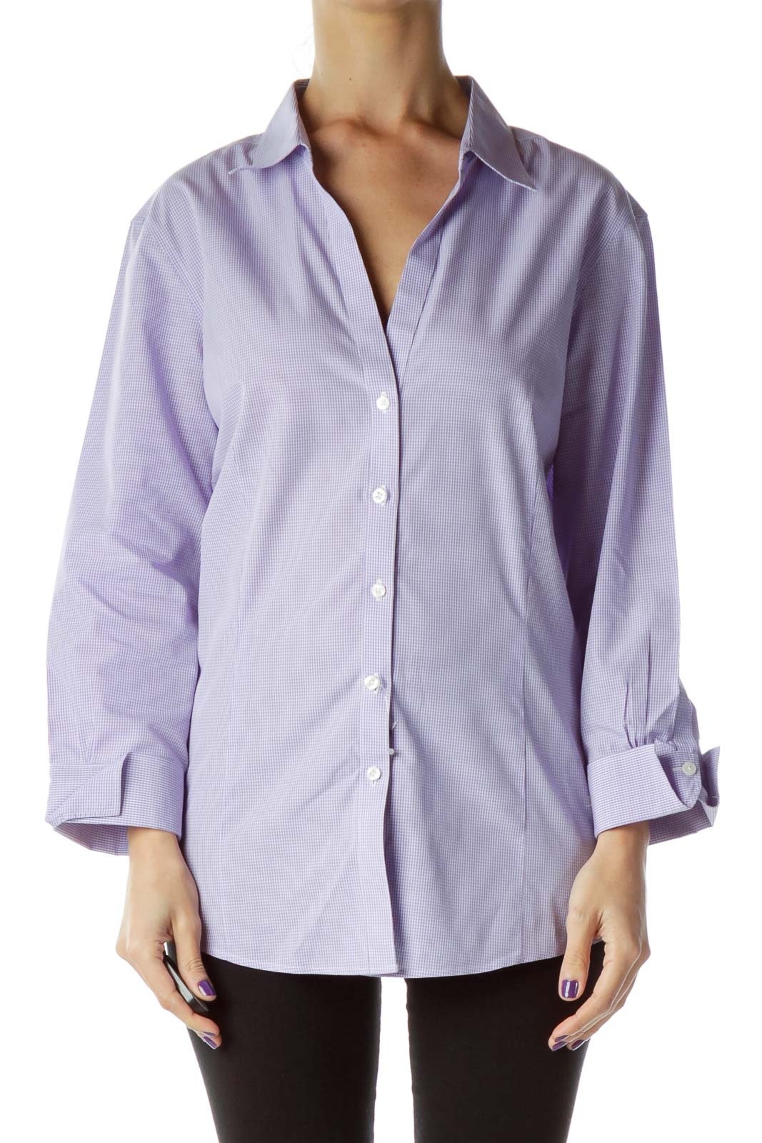 Purple Check 3/4 Sleeve Collared Shirt