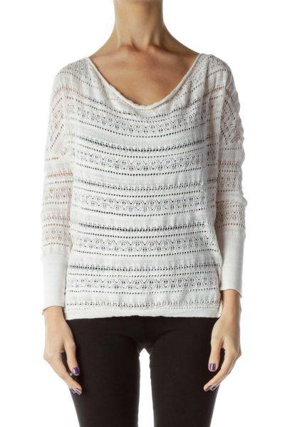 Cream Round Neck Crocheted Sweater