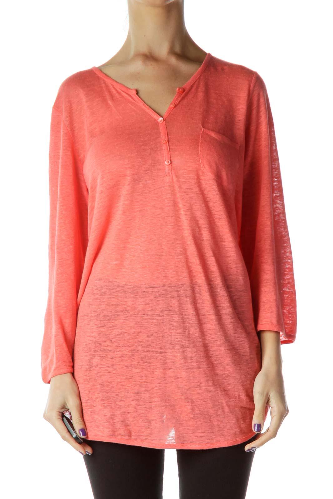 Orange V-neck Crop Sleeve Sweatshirt