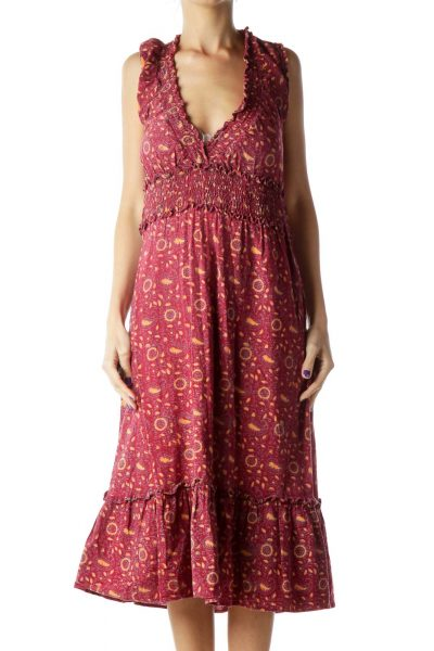 Red Printed Midi Day Dress