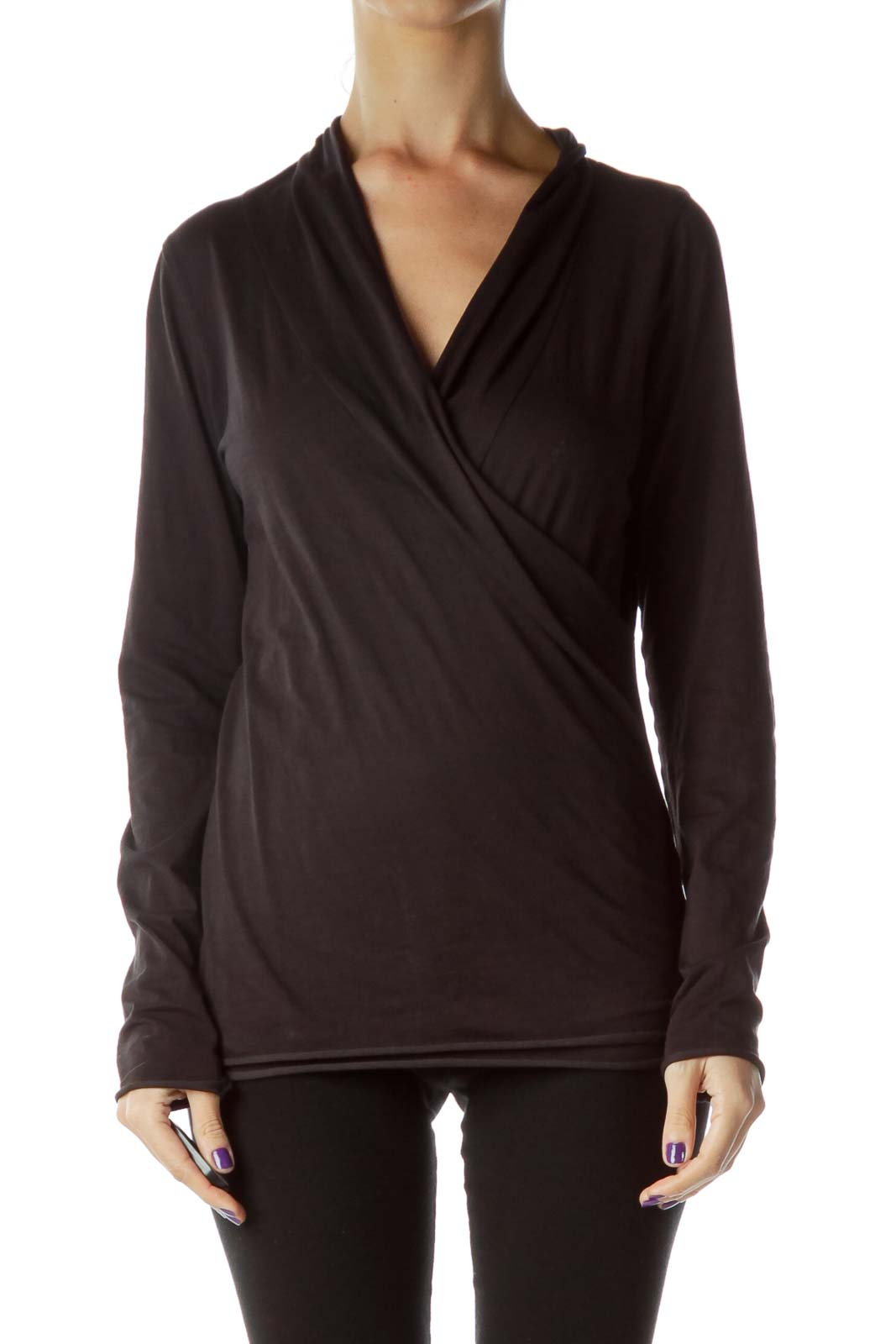 Black Surplice Long Sleeve Top