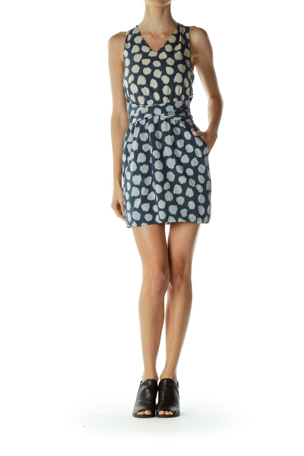 Blue Polka-Dot Silk Dress with Pockets