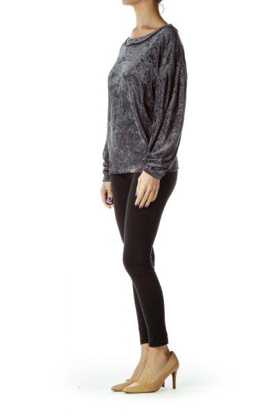 Gray Velvet Round Neck Sweatshirt