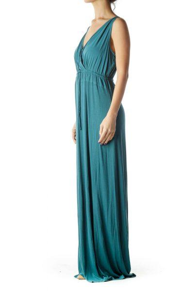 Blue V-Neck Maxi Dress