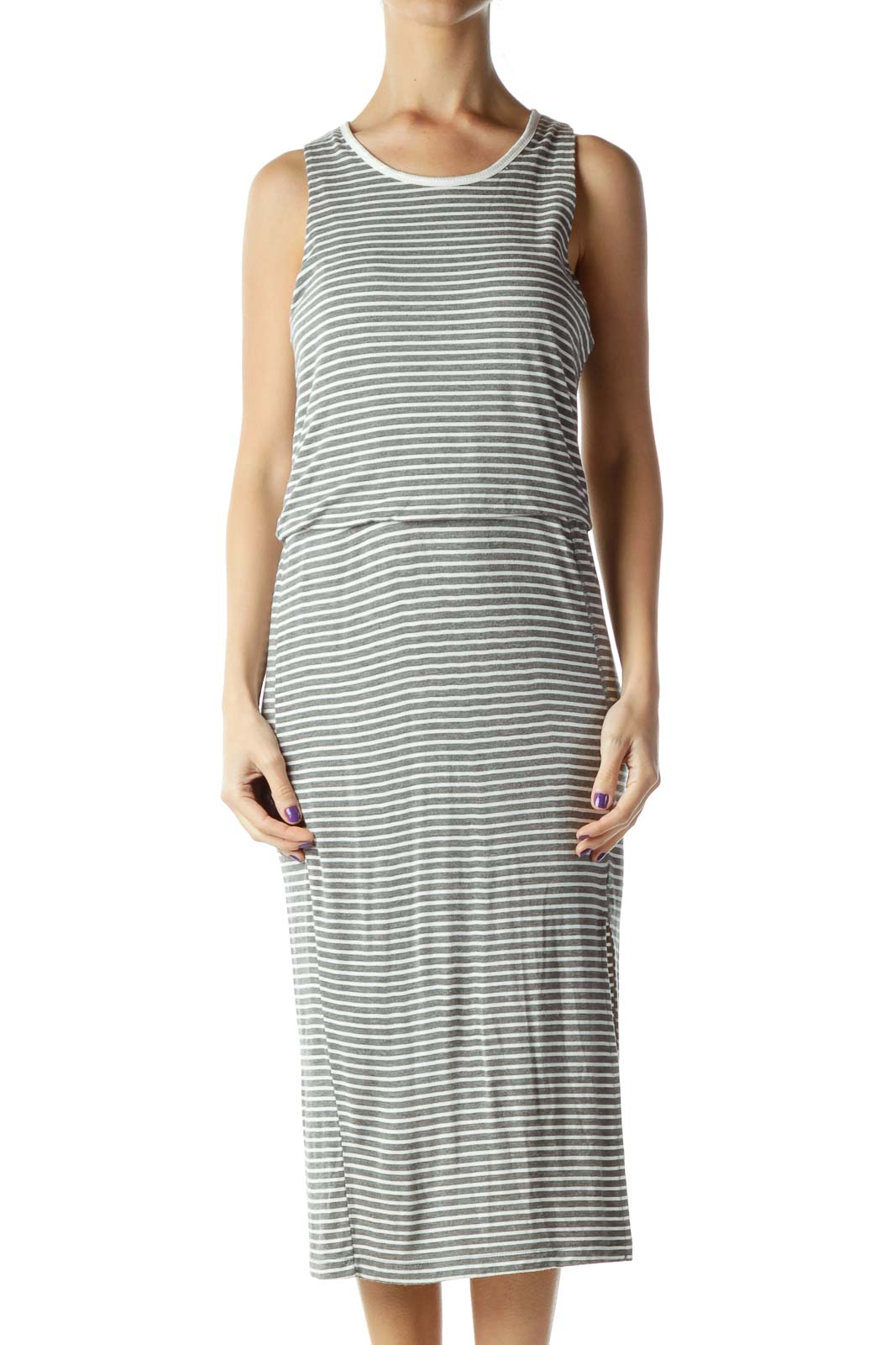 Gray Cream Stripe Jersey Dress