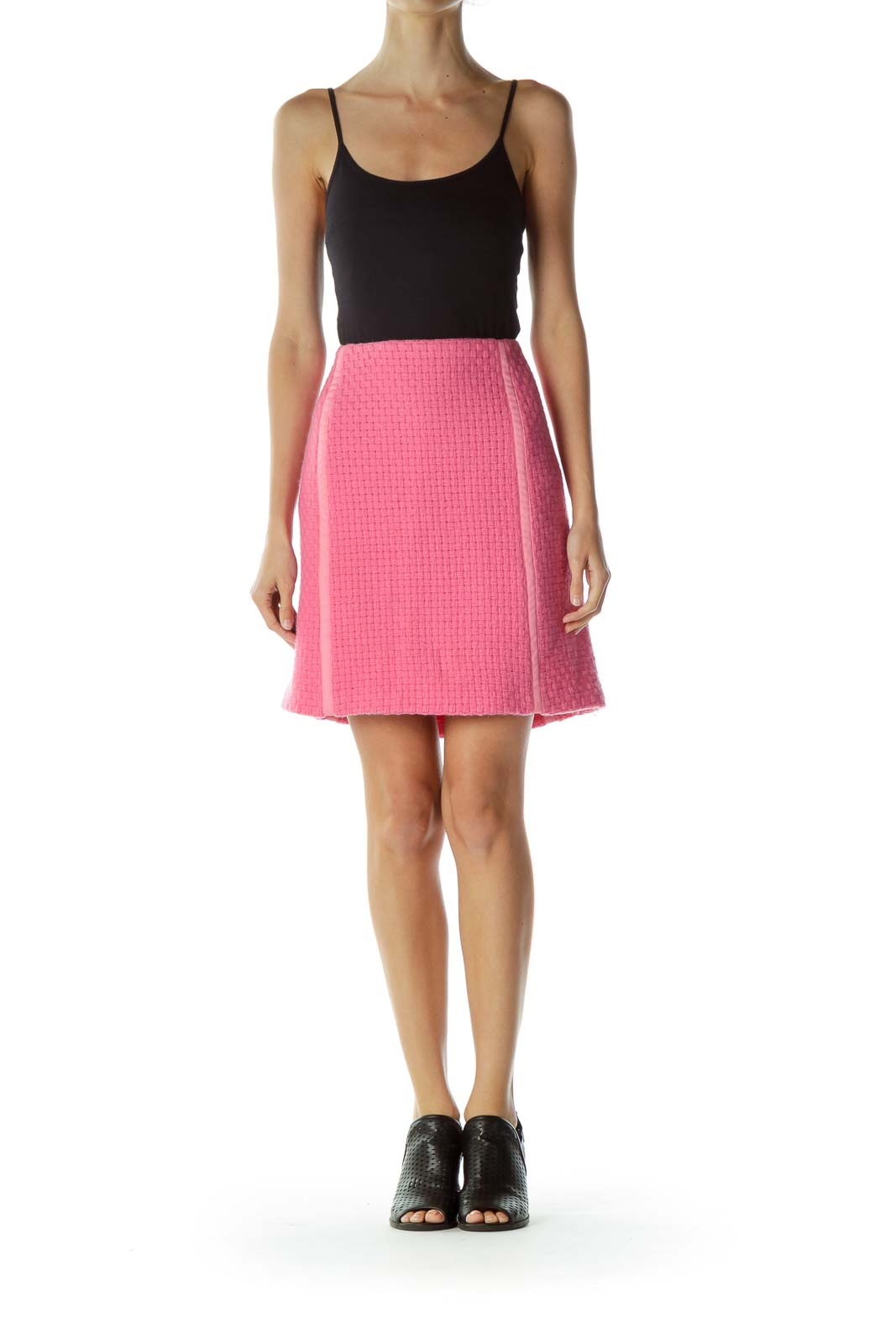 Pink Tweed Pencil Skirt