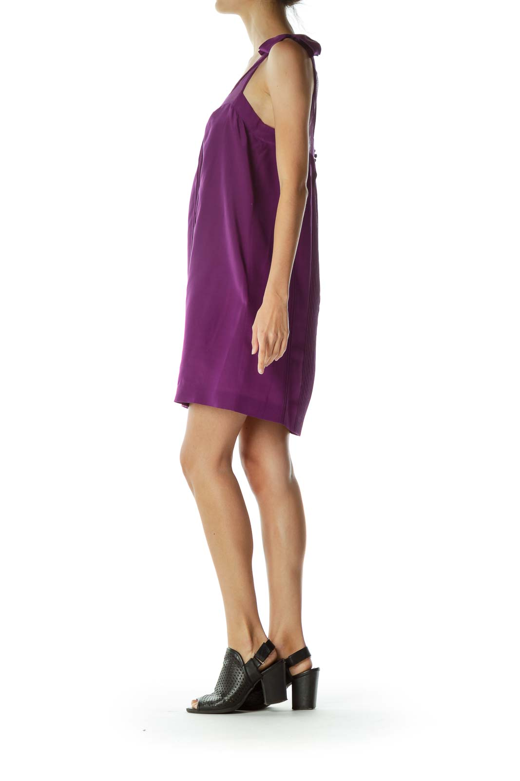 Purple Tent Cocktail Dress with Bow Detail