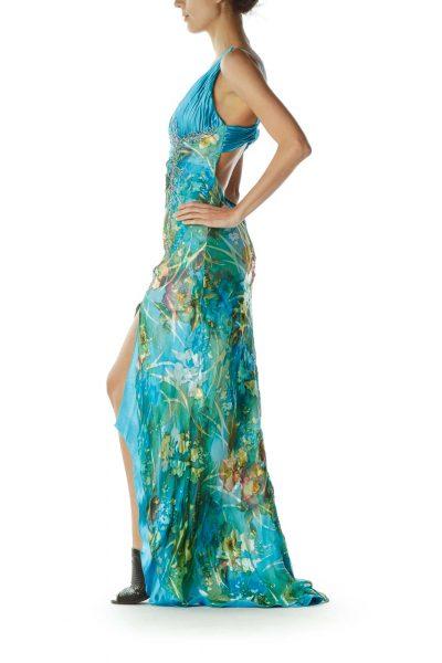 Blue Green Silk Open Back Evening Gown