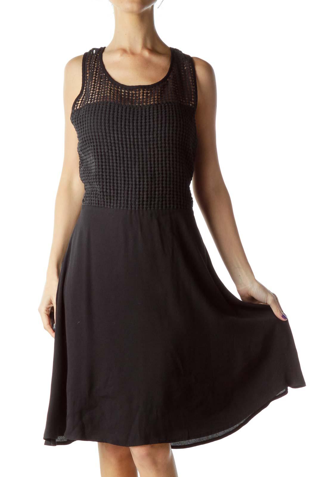 Black Crocheted Detail Flared Dress