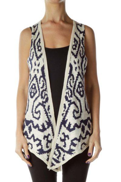 Beige Navy Crocheted Printed Vest