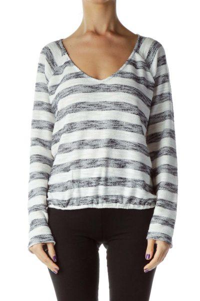 White Blue Stripe V-Neck Sweater