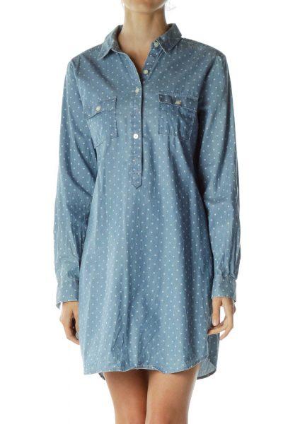 Blue Polka-Dot Shirt Dress