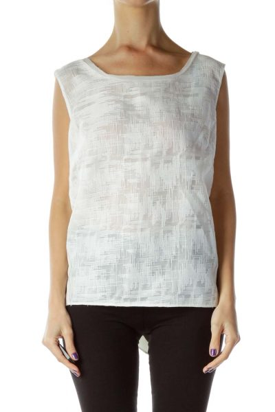 White Textured Sleeveless Blouse