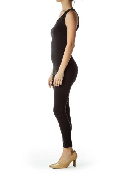 Black Fitted Round Neck Tank Top