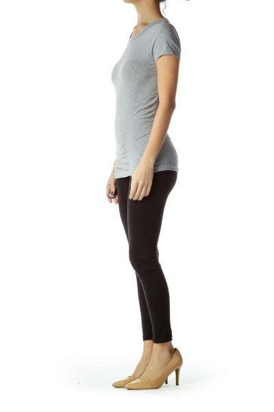 Gray Round Neck Yoga Top