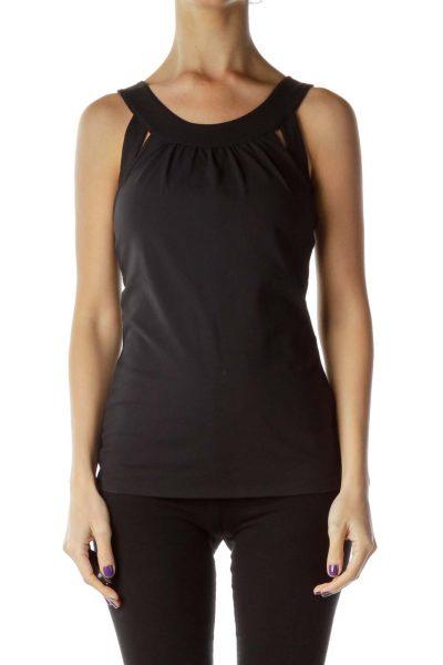 Black Round Neck Yoga Top