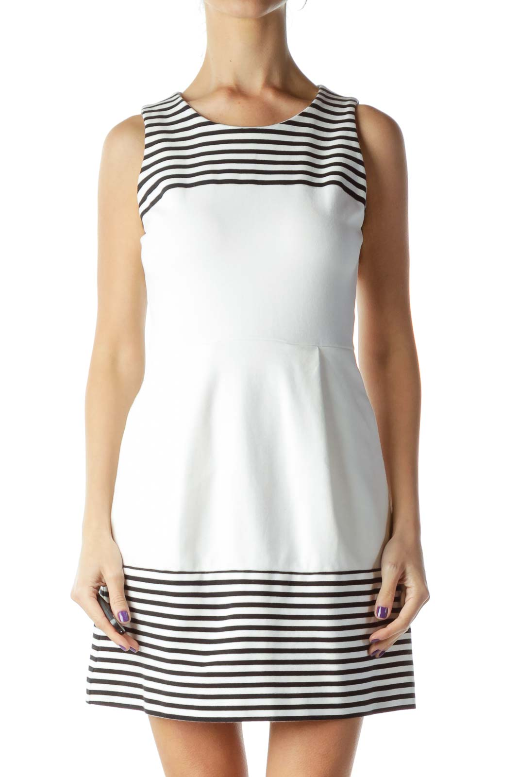 White Black Pleated Day Dress