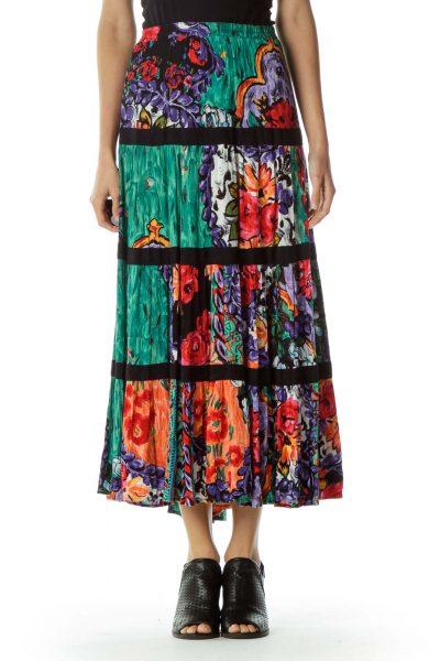 Multicolor Vintage Maxi Skirt