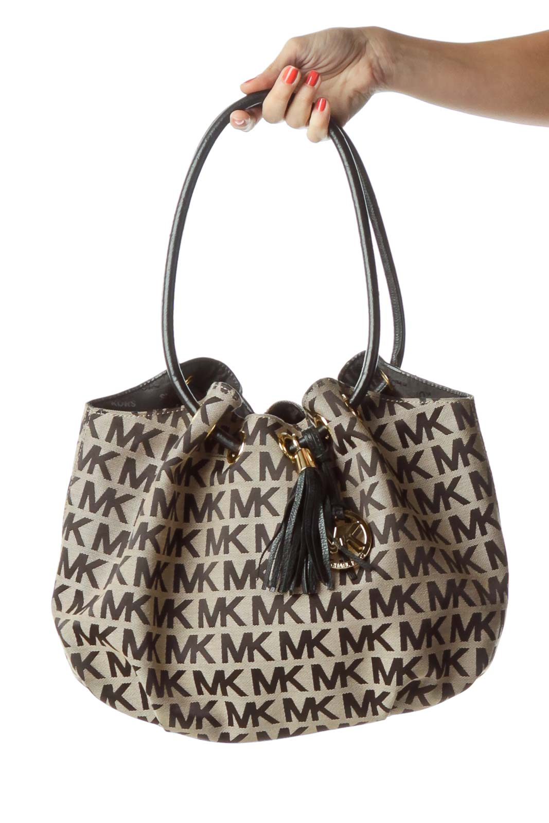 2f3c44f477b Shop Beige Black Monogrammed Shoulder Bag clothing and handbags at ...