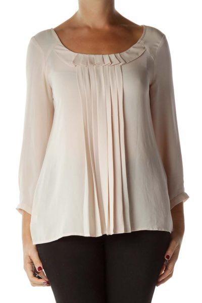 Pink Pleated Round Neck Blouse