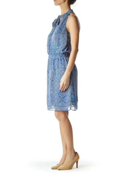 Blue Print Dress with Tie Detail