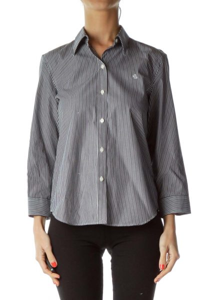 Blue White Pinstripe Blouse