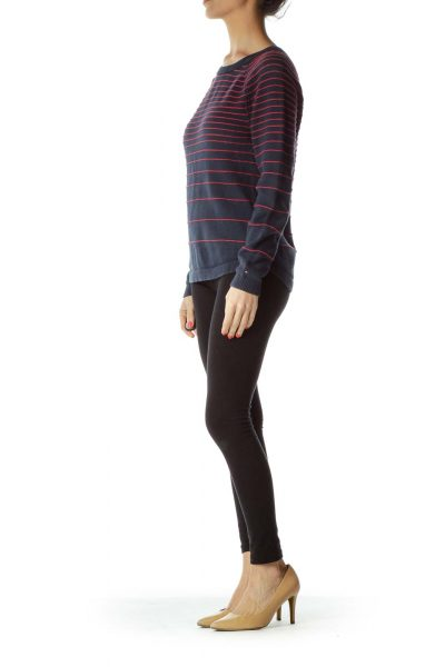 Blue Red Striped Knit Sweater