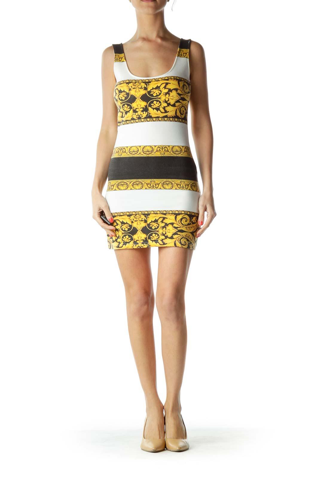 Yellow Black White Printed Day Dress