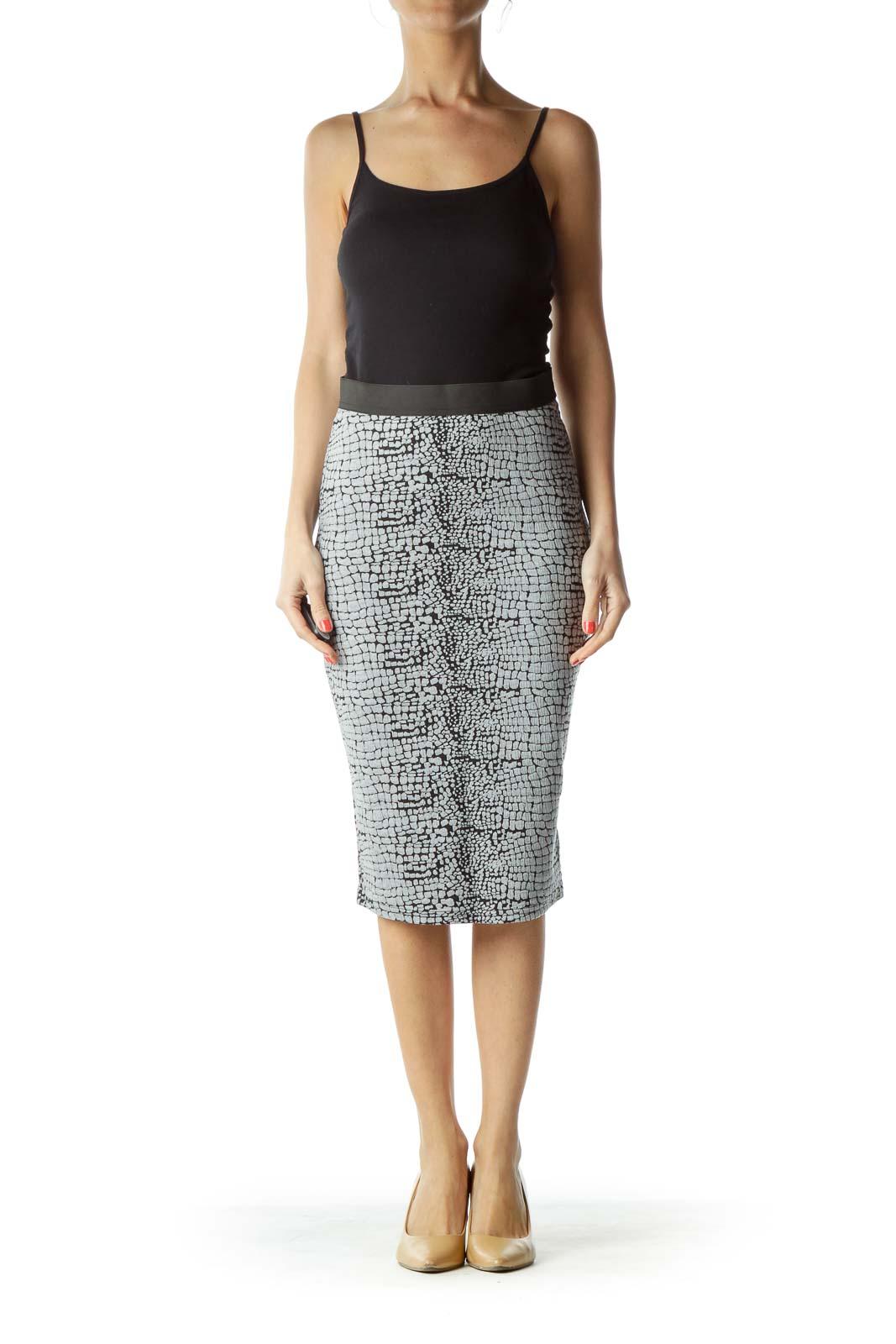 Black Gray Print Pencil Skirt