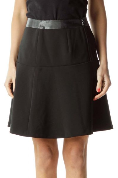 Black Flared Mini Skirt