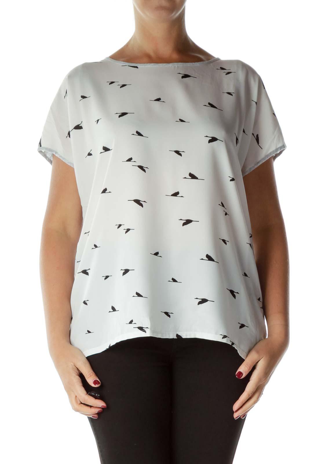 White Black Bird Print Sleeveless Blouse