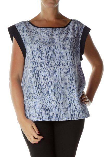 Blue Snake Skin Print Sleeveless Blouse