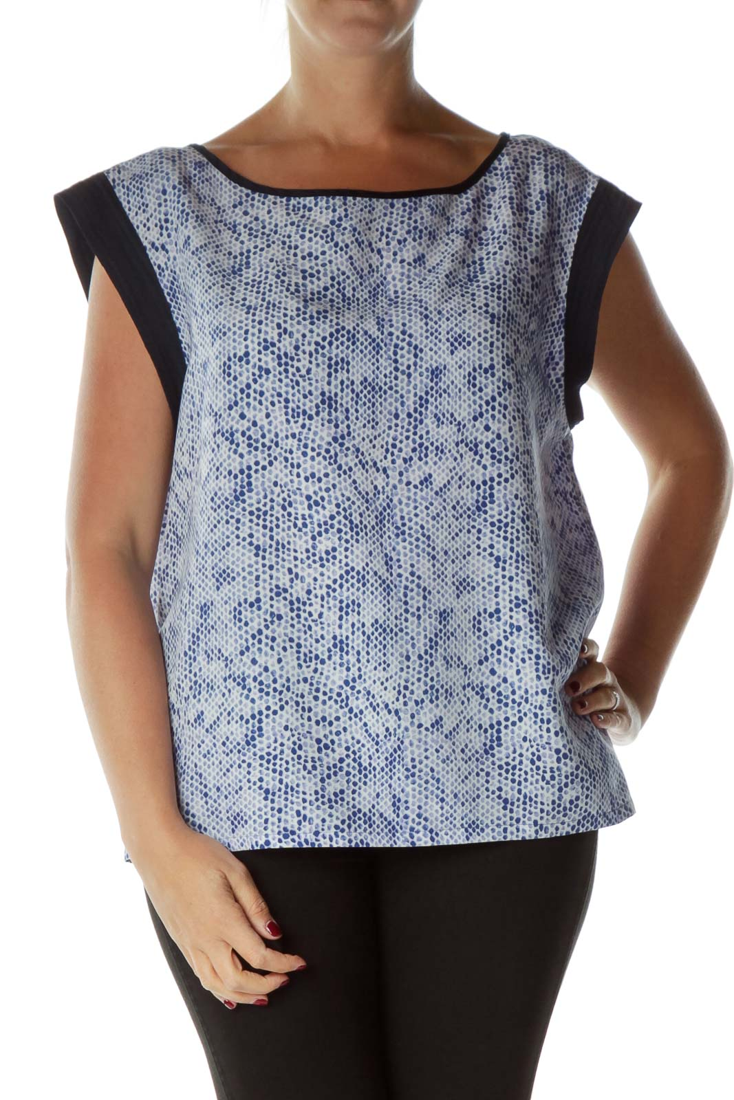 Blue Snake Skin Print Sleeveless Blouse