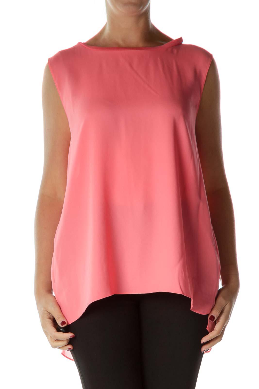 Pink Sleeveless Pleated Back Blouse