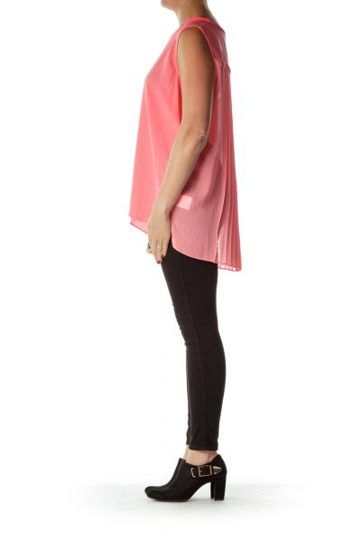 Pink Sleeveless Pleated Back Blouse
