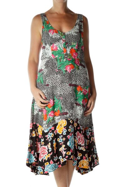 Multicolor Floral Print Midi Day Dress