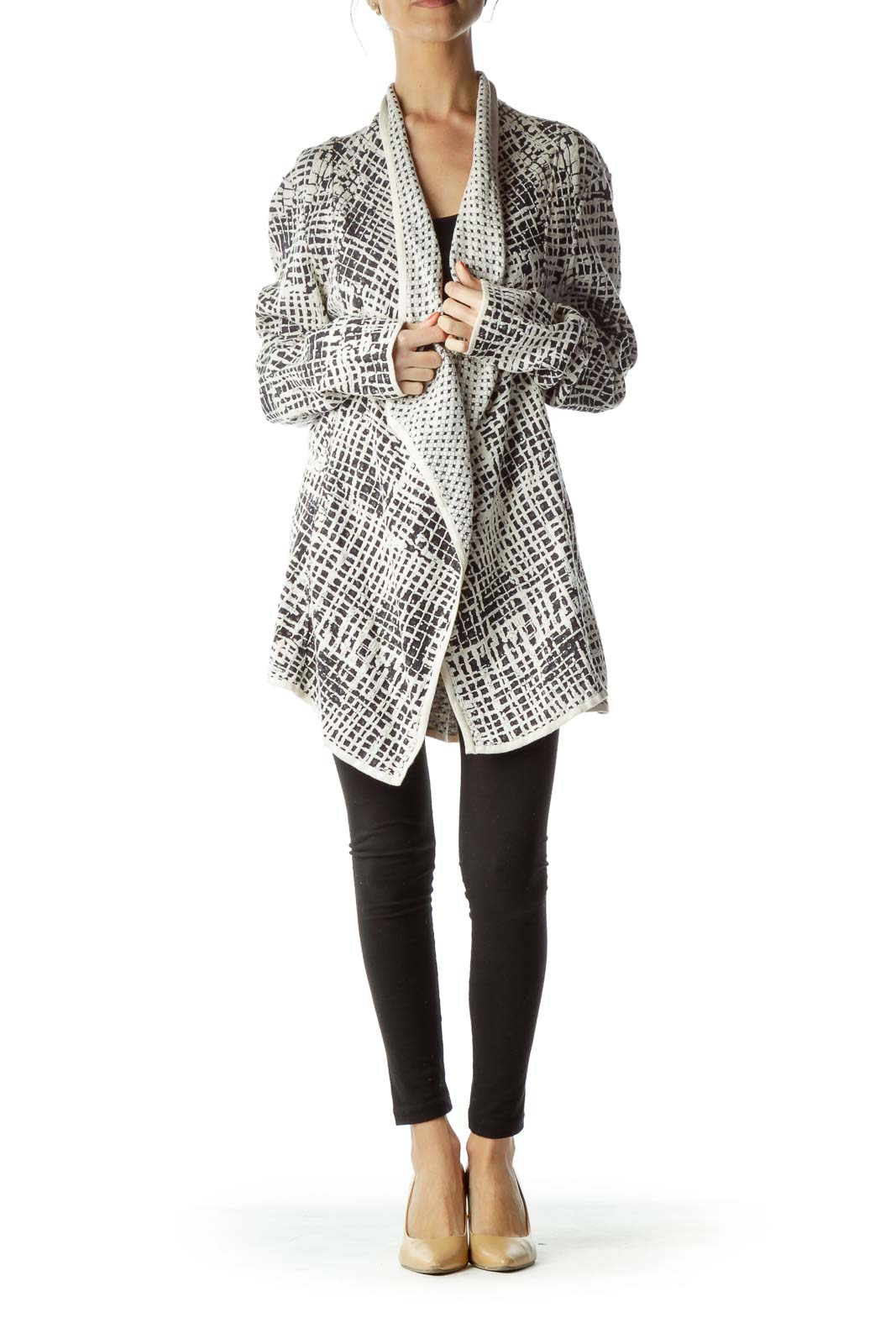 Cream Black Textured Cardigan