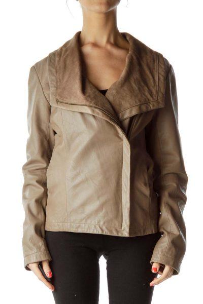 Brown Sheepskin Bomber Jacket
