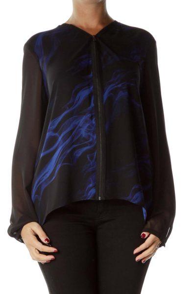 Black Blue Print Zippered Blouse