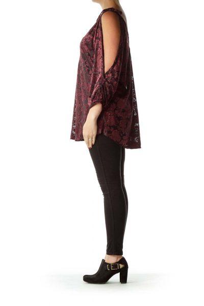 Purple Black Off-Shoulder Velvet Blouse