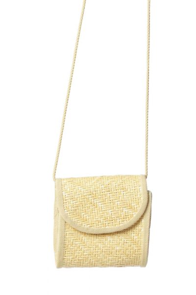 Beige Straw Crossbody Bag