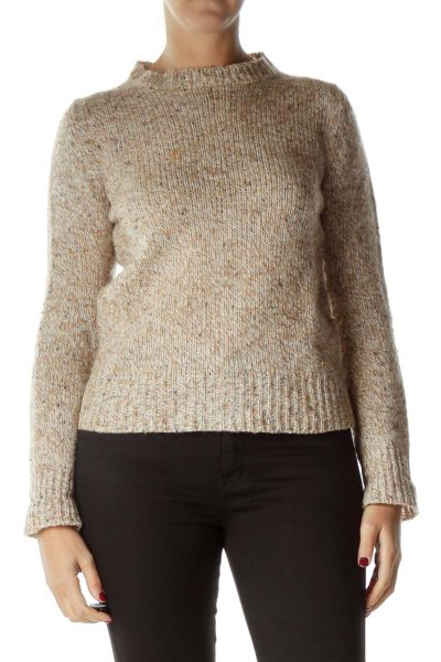 Beige Marled Crew Neck Sweater