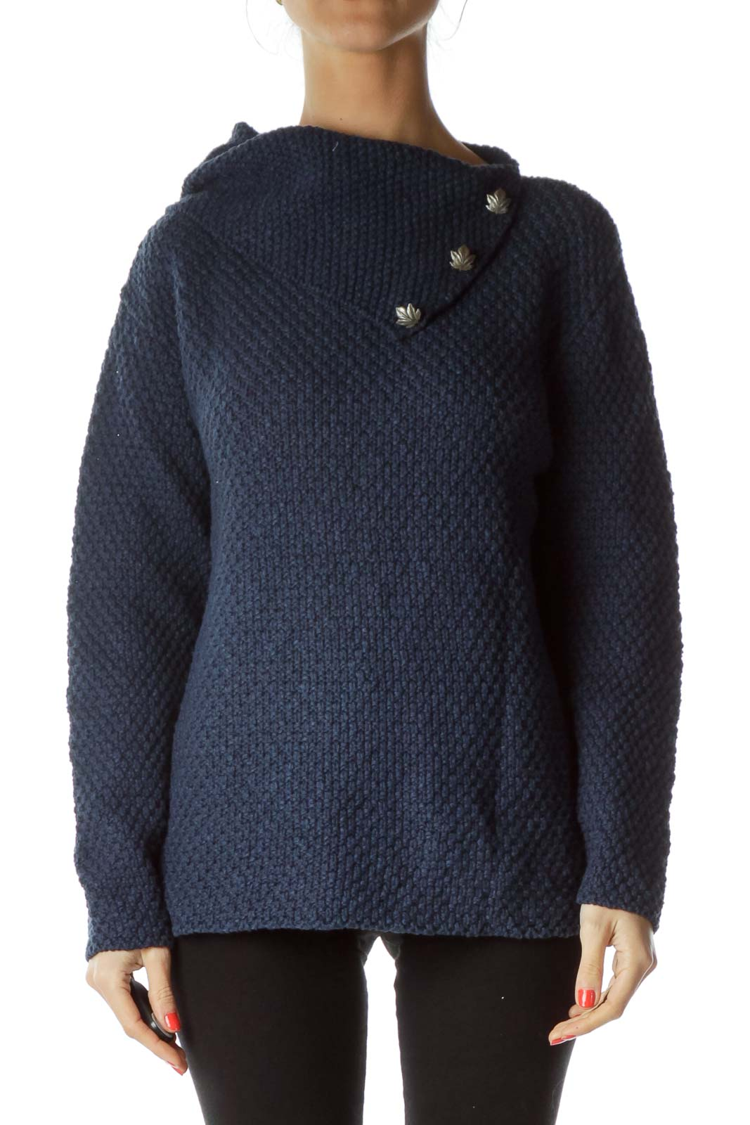 Navy Cable Knit Cowl Neck Sweater