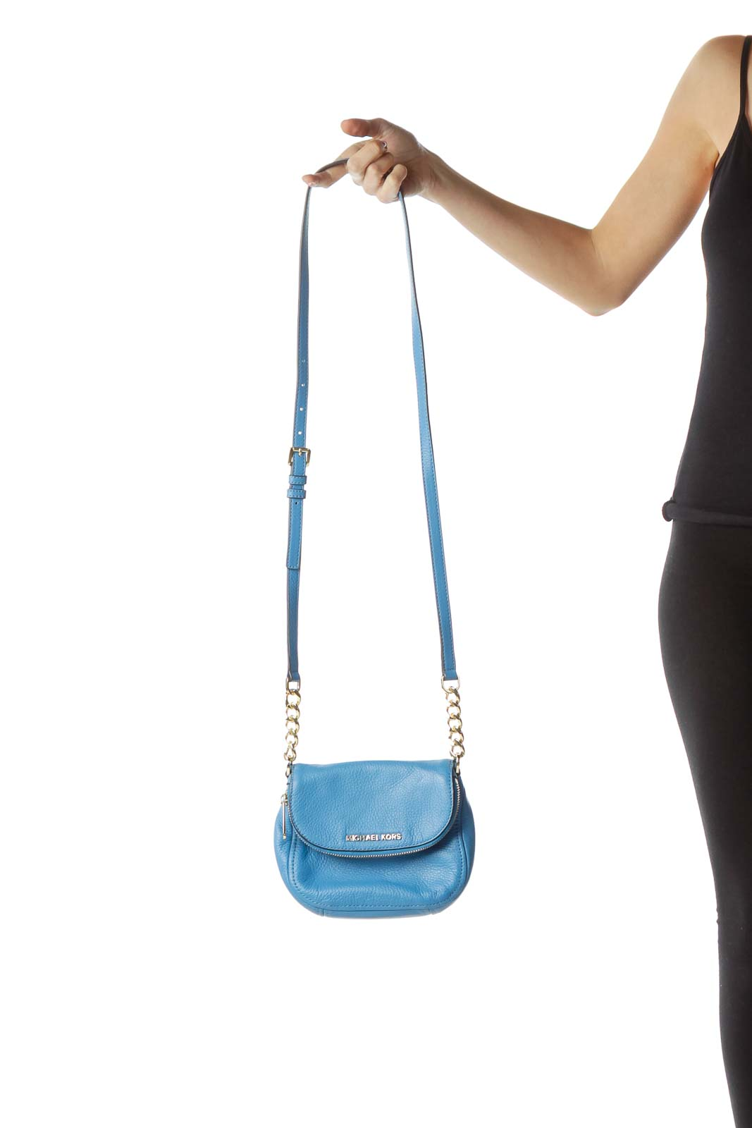 Blue Leather Gold Chain Crossbody Bag