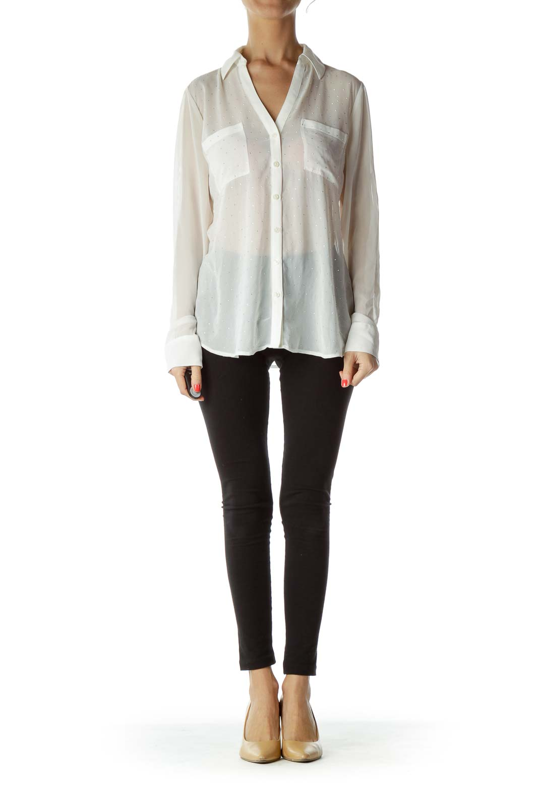 White Silver Studded Blouse