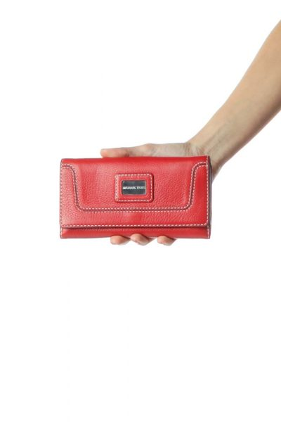 Red Stitched Leather Wallet
