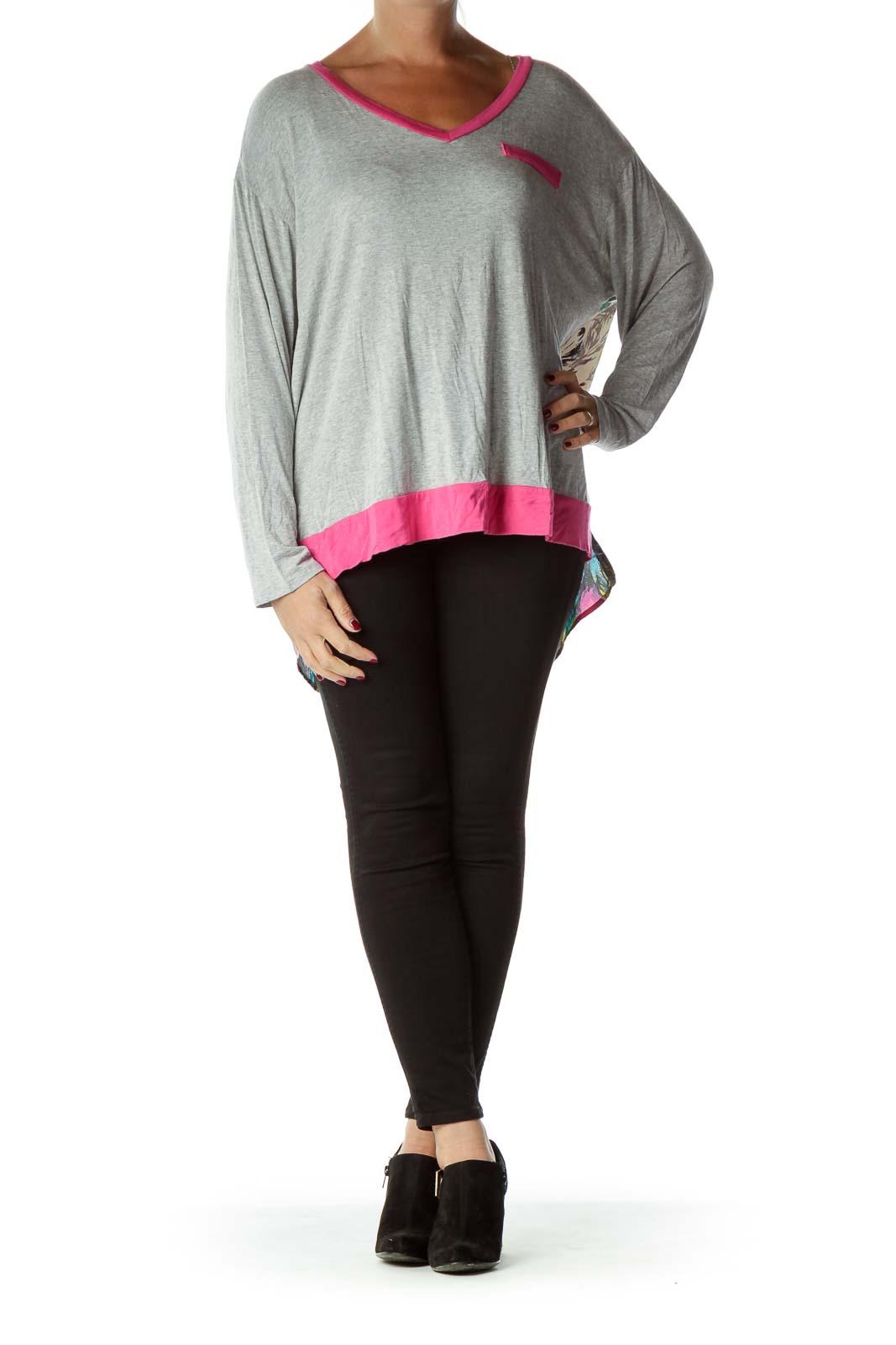 Gray Printed Long Sleeve Jersey Top