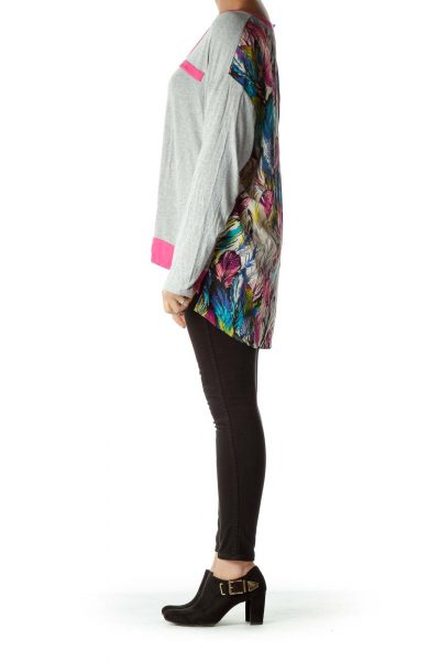 Gray Printed Long Sleeve Jersey Top