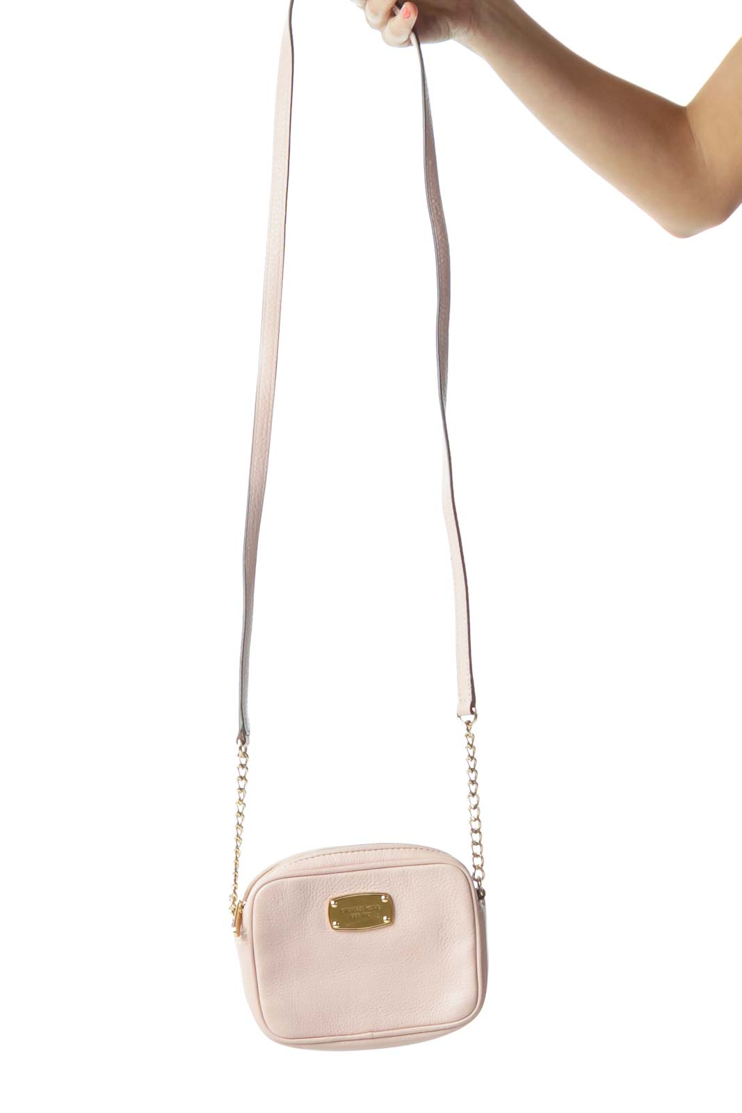 9ed3ae08892 Shop Pink Leather Gold Chain Crossbody Bag clothing and handbags at ...