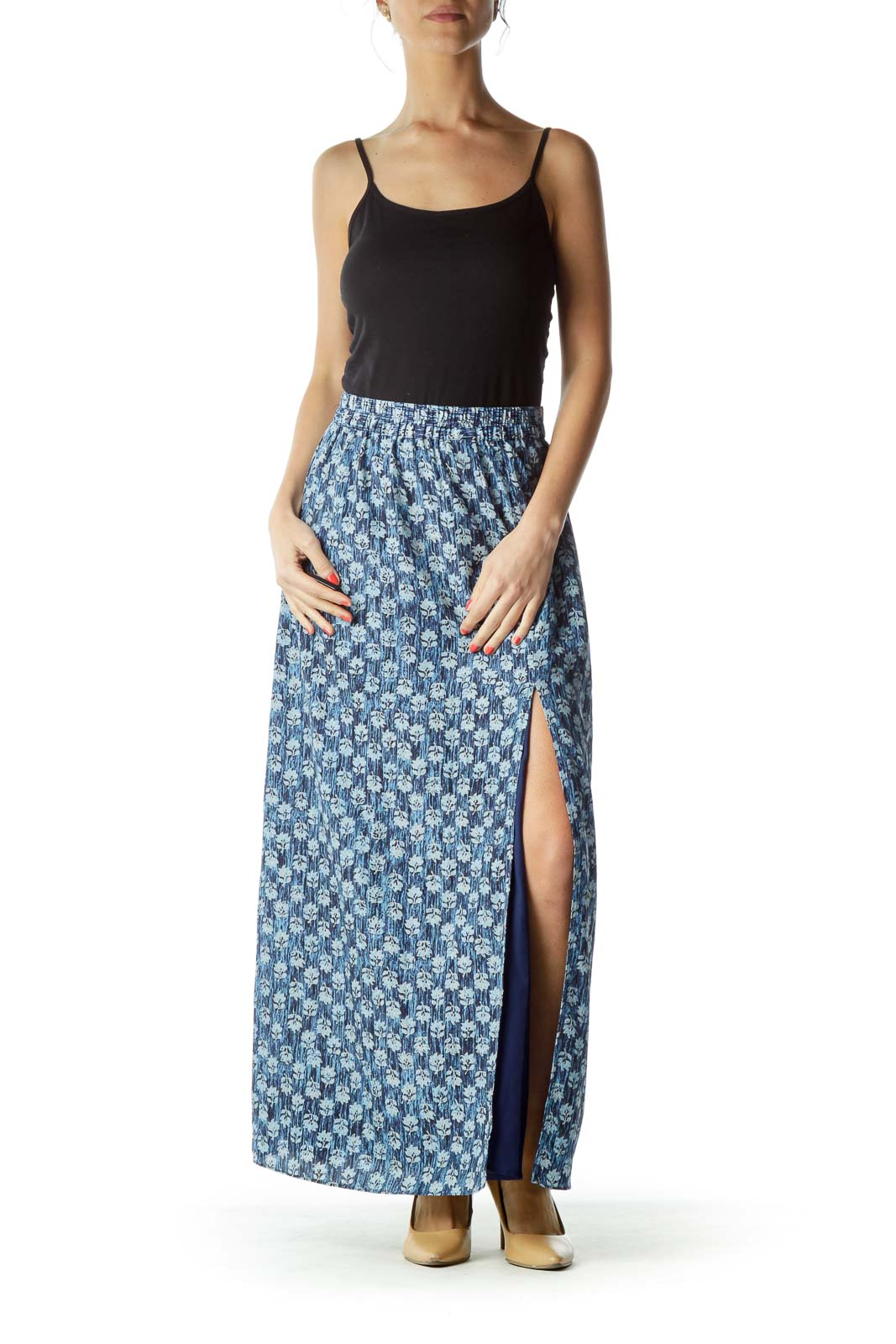 Blue Floral Print Maxi Skirt with Slit